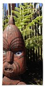 Maori Carving Beach Towel by Les Cunliffe