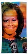 Michelle Obama Beach Towel by Marvin Blaine