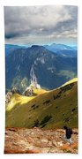 Mountains Stormy Landscape Beach Towel