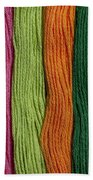 Multicolored Embroidery Thread In Rows Beach Towel