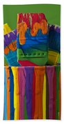 Multicolored Paint Can With Brushes Beach Towel
