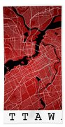 Ottawa Street Map - Ottawa Canada Road Map Art On Colored Backgr Beach Towel