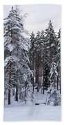 Pine Forest Winter Beach Towel