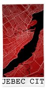 Quebec City Street Map - Quebec City Canada Road Map Art On Colo Beach Towel