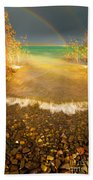 Rainbow And Dark Clouds Over Large Lake Beach Towel