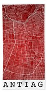 Santiago Street Map - Santiago Chile Road Map Art On Colored Bac Beach Towel