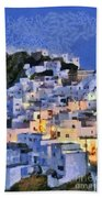 Serifos Town During Dusk Time Beach Towel