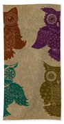 4 Sophisticated Owls Colored Beach Towel