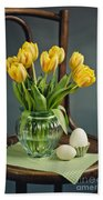 Still Life With Yellow Tulips Beach Sheet