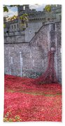 Tower Of London Poppies Beach Towel