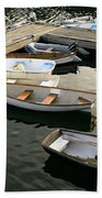 View Of Boats At A Harbor, Rockland Beach Towel