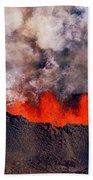 Volcano Eruption At The Holuhraun Beach Towel