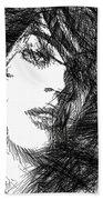 Woman Sketch Beach Towel