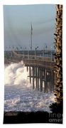 Ocean Wave Storm Pier Beach Towel