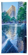 Skyline And City Streets Of Charlotte North Carolina Usa Beach Towel