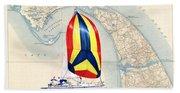 39 Foot Beneteau Cape Cod Chart Art Beach Towel