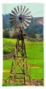 Painting San Simeon Pines Windmill Beach Towel