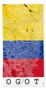 Bogota Street Map - Bogota Colombia Road Map Art On Colored Back Beach Towel