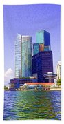 Financial District Of Singapore And View Of The Water In Singapore Beach Towel