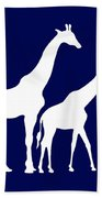 Giraffe In Navy And White Beach Towel