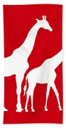 Giraffe In Red And White Beach Towel