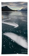 Ice Pattern On Frozen Abraham Lake Beach Towel