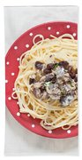 Sardines And Spaghetti Beach Towel by Tom Gowanlock