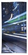 Tram At Night Beach Towel