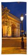 Twilight At Arc De Triomphe Beach Towel