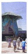 Visitors Heading Towards The Waterworld Attraction Beach Towel