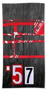 57 Chevy License Plate Art Beach Towel