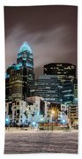 Charlotte Queen City Skyline Near Romare Bearden Park In Winter Snow Beach Towel