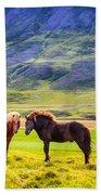 Icelandic Ponies Beach Towel
