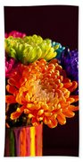Multicolored Chrysanthemums In Paint Can Beach Towel
