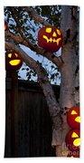 Pumpkin Escape Over Fence Beach Towel