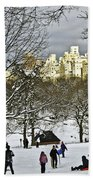 Snowboarding  In Central Park  2011 Beach Towel