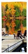Wooden Dock On Autumn Lake Beach Towel