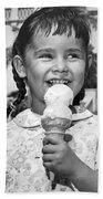 Girl With Ice Cream Cone Beach Towel