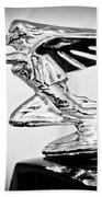1935 Packard Hood Ornament -0295bw Beach Towel