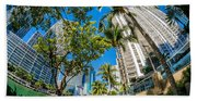 Downtown Miami Brickell Fisheye Beach Towel