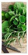 Kitchen Herbs Beach Towel by Nailia Schwarz