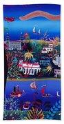 75th Anniversary Of Palm Beach, Florida Oil On Canvas Beach Towel