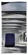 Blue Citylink Bus On A Metal Bridge In Scotland Beach Towel