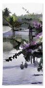 Ducks And Flowers In Lagoon Water Beach Towel