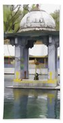 Premises Of The Hindu Temple At Mattan With A Water Pond Beach Towel