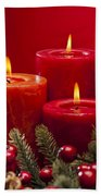 Red Advent Wreath With Candles Beach Towel