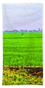 Green Fields With Birds Beach Towel