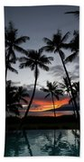 Silhouette Of Palm Trees At Dusk Beach Towel