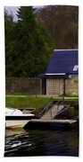 Small White Yacht In The Water Of The Caledonian Canal Beach Towel