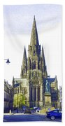 View Of Episcopal Cathedral In Edinburgh Beach Towel